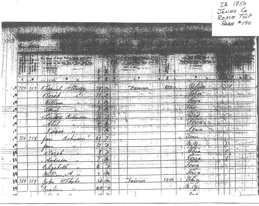 Census Record 1850 Jones County Iowa