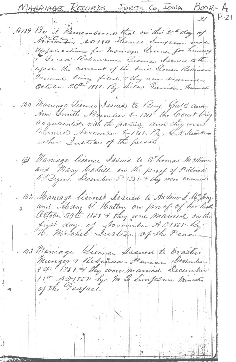 Marriage Record, Jones County Iowa